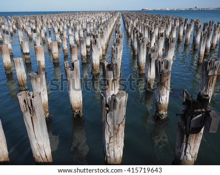 Stumps of Princes Pier in Port Melbourne