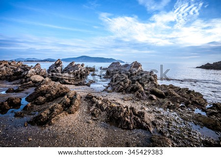 Stuning Sea Landscape with stone, sea and sky