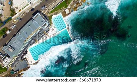 Stunning aerial view of Bondi Beach, Sydney. - stock photo