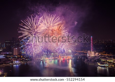 stunning aerial view of chinese new year fireworks in singapore - Chinese New Year Fireworks