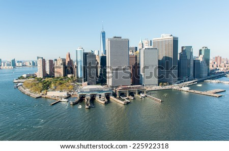 Stunning aerial view of Manhattan, New York from a helicopter. - stock photo