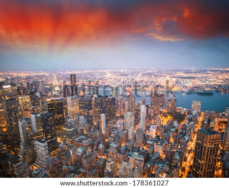 Stunning aerial view of Midtown Manhattan - New York.