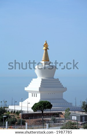 Stunning and new Enlightenment Stupa Buddhist Temple at the top of Benalmadena in Spain - stock photo