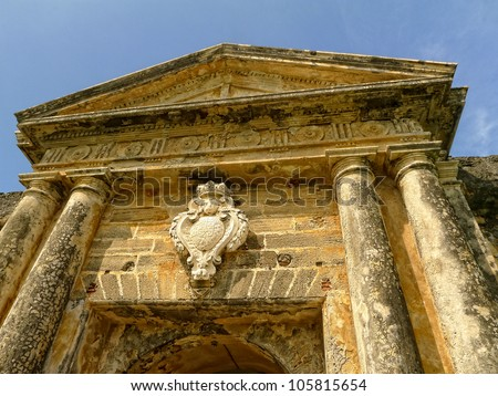 Stunning architectural entrance to El Morro Fort in Old San Juan Puerto Rico - stock photo