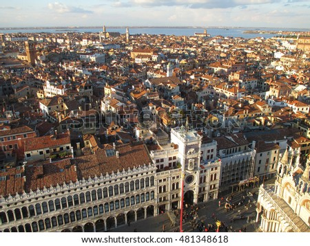 Stunning Architectures and Cityscape view from the Campanile, Venice, Italy