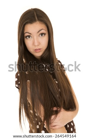 Stunning Asian American female portrait looking forward - stock photo