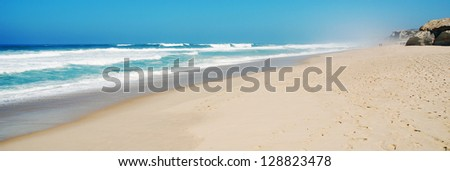 stunning beach at Praia del Rey, Portugal (panoramic picture) - stock photo