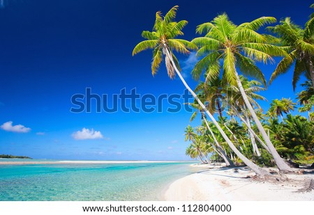 Stunning beach at Tikehau atoll in French Polynesia - stock photo