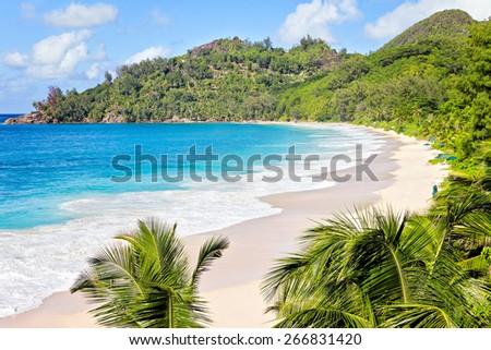 Stunning beach Laguna, Seychelles, Mahe  - stock photo