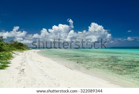 stunning beautiful gorgeous Cuban beach against deep blue sky and tranquil, turquoise ocean - stock photo