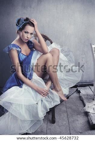 Stunning brunette beauty posing - stock photo