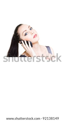 Stunning Business Customer Service Woman Holding Big Empty Sign While Listening On A Mobile Phone Communication In A Call Or Contact Us For Help Concept