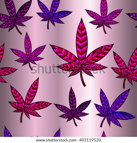 Stunning cannabis leaf in stained-glass style, seamless design. High-resolution raster JPEG version.  - stock photo