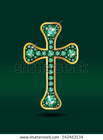 Stunning Christian Cross symbol with emerald precious stones embedded into a gold channel setting. Raster bitmap version.
