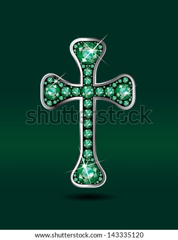 Stunning Christian Cross symbol with emerald precious stones embedded into a sterling silver channel setting. Raster.
