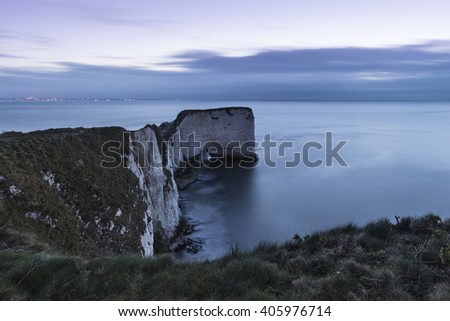 Stunning cliff formation landscape during beautiful sunrise - stock photo
