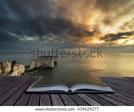 Stunning cliff formation landscape during beautiful sunrise with book morphing into sea