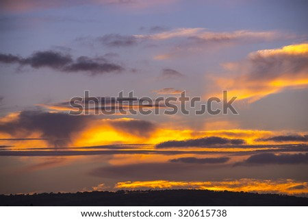 Stunning colors and cloud patterns of a sunset sky