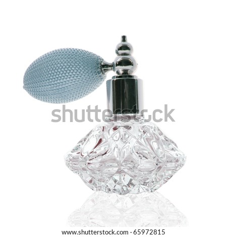 Stunning cut glass perfume atomizer on white - stock photo