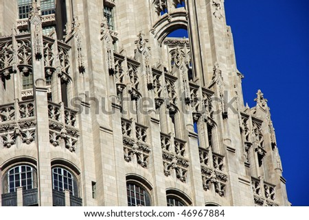 Stunning example of neo-gothic architecture with flying buttress - stock photo