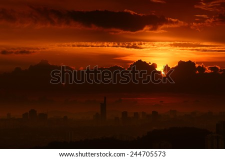 Stunning Gold Sunset in the Metropolis with silhouette of skyscrapers