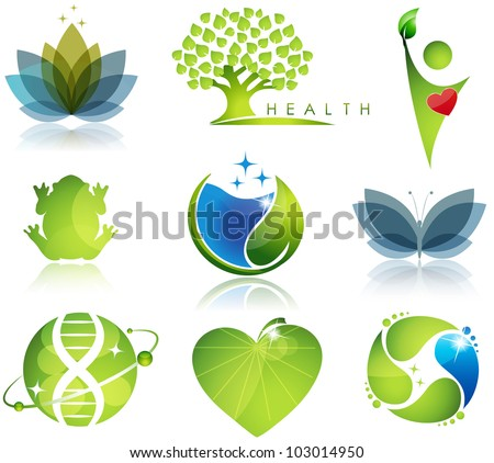 Stunning health-care and ecology symbols. Beautiful harmonic colors. - stock photo