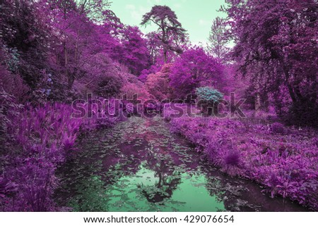 Stunning infra red alternative color landscape image of trees over river - stock photo
