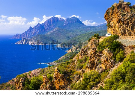 stunning ladscapes of Corsica island - stock photo