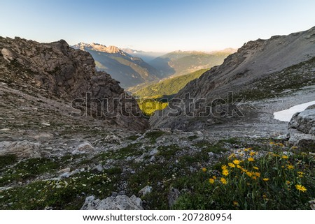 Stunning landscape at sunset on the Susa Valley from above. - stock photo