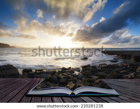 Stunning landscape ocean at sunset dramatic clouds - stock photo