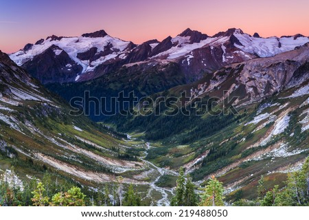 Stunning landscape of valley and mountains - stock photo