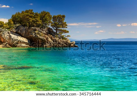 Stunning landscape with rocky island and clean water on the beach,Brela,Makarska riviera,Dalmatia,Croatia,Europe - stock photo