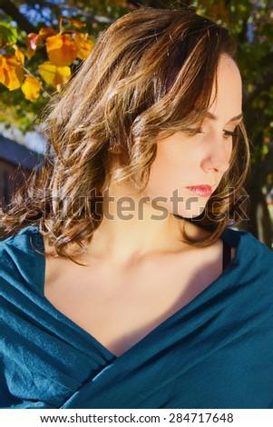 Stunning Model with Long Brunette Hair - stock photo