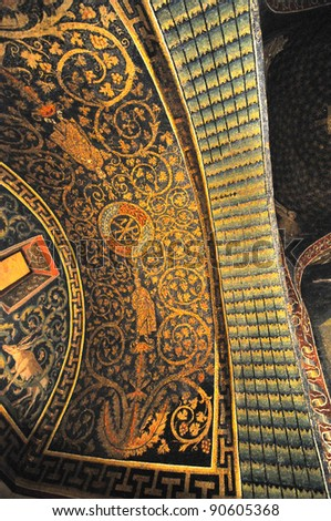 Stunning mosaics in the roman empress Galla Placida's mausoleum, listed by UNESCO, in Ravenna, Italy