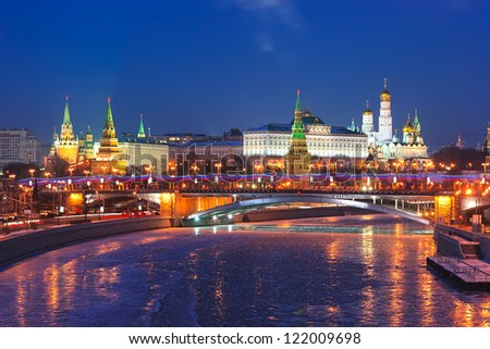 Stunning night view of Kremlin in the winter, Moscow, Russia - stock photo