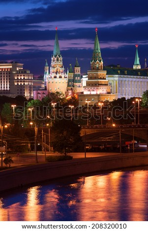 Stunning night view of Moscow Kremlin, Russia - stock photo