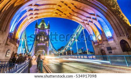 Stunning night view of Tower Bridge traffic, London - UK,