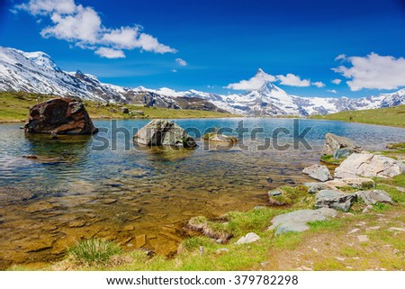 Stunning panorama with Matterhorn and beautiful alpine lake,Stellisee,Valais region,Switzerland,Europe