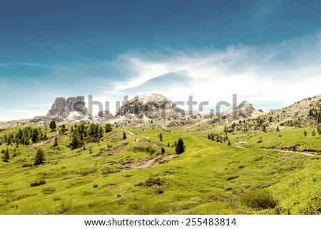 Stunning peaks of Dolomites, Italy. - stock photo