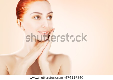 stunning red haired woman skin health concept