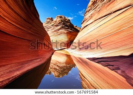 Stunning reflections at The Wave, Arizona - stock photo