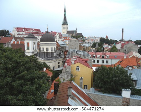 Stunning Rooftop View of Tallinn Old Town with St. Olaf's Church, Estonia, UNESCO World Heritage Site