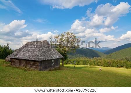 Stunning rural farm with old wooden hut Bran, Carpatians, Romania, Europe - stock photo