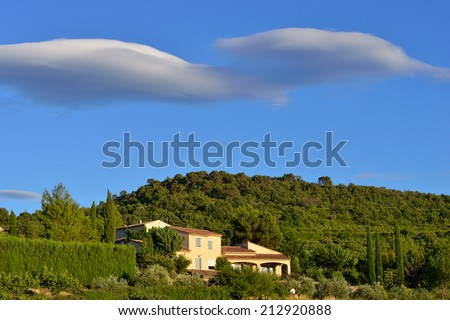 Stunning rural landscape with old farmhouse at sunset. Provence, France - stock photo