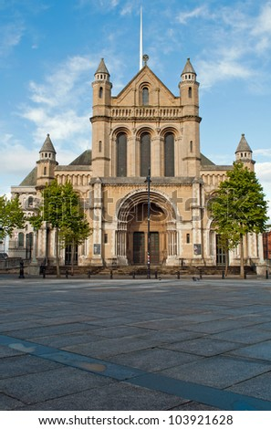 stunning Saint Anne's Cathedral or Belfast Cathedral in Belfast, Northern Ireland (blue sky) - stock photo