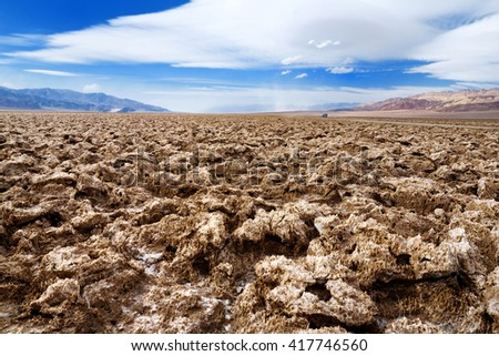 Stunning salt formations at Devils Golf Course in Death Valley National Park, California, USA - stock photo