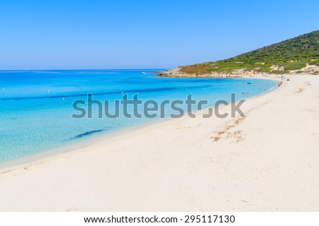Stunning sandy Bodri beach near L'lle Rousse with azure sea water, Corsica island, France - stock photo
