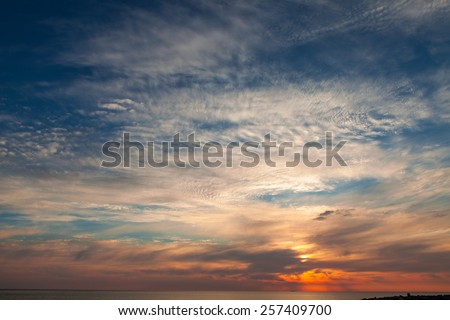 Stunning sky wth dramatic cloudscape at sunset - stock photo