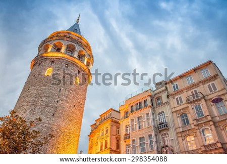 Stunning structure of Galata Tower at dusk, Istanbul. - stock photo