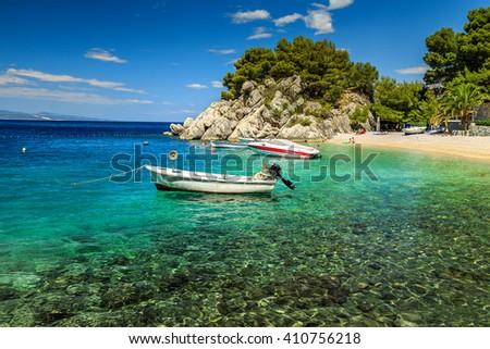 Stunning summer landscape with Adriatic Sea and majestic bay on Brela resort,Makarska riviera,Dalmatia,Croatia,Europe - stock photo